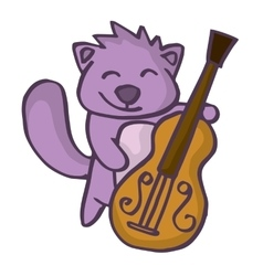 Beaver cartoon with guitar funny design vector