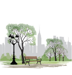 bench and streetlight in park city background vector image
