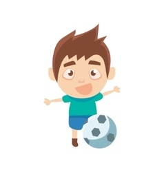 Boy sportsman playing football part of child vector
