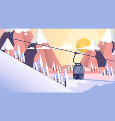 Cable car transportation rope way over mountain vector