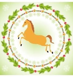 Christmas horse in round frame vector