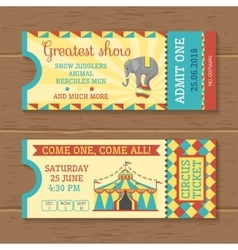 Colorful tickets for circus show vector