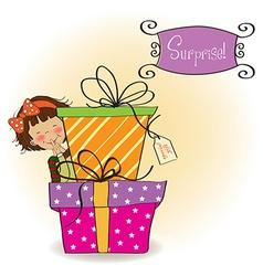 Cute little girl hidden behind boxes of gifts vector