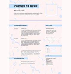 cv template minimalist resume web page job vector image vector image