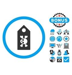 Death Label Flat Icon with Bonus vector image vector image
