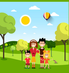 Family in park people on field flat design vector