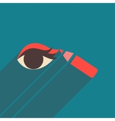 Flat icon with long shadow eyeliner pencil vector