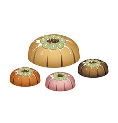 four kiwi bundt cake with sugar glaze vector image