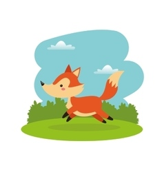 Fox cartoon icon woodland animal graphic vector