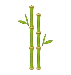 Green bamboo stems icon cartoon style vector