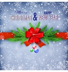 Happy new year and merry christmas greeting card vector