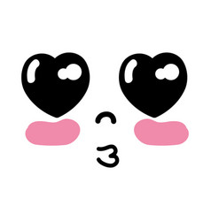 Kawaii cute tender face expression vector
