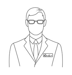 Male realtorrealtor single icon in outline style vector