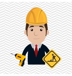 man construction drill helmet vector image