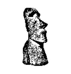 moai statue in the rano raraku volcano in easter vector image