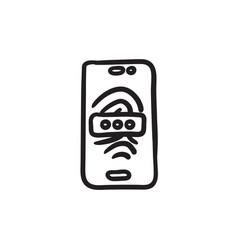 Mobile phone scanning fingerprint sketch icon vector