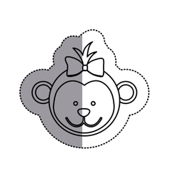 Monochrome contour sticker with female monkey head vector