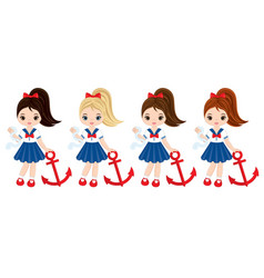 nautical little girls with anchors vector image vector image