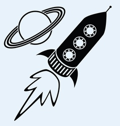 rocket ship and planet saturn vector image vector image
