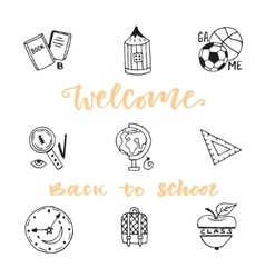 School education doodle sketch icons set Hand vector image