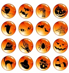 set of orange Halloween icons vector image vector image