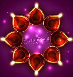 Shiny background of diwali diya vector