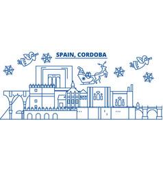 Spain cordoba winter city skyline merry vector