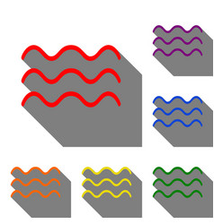 waves sign set of red orange vector image