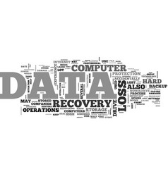 What is data recovery text word cloud concept vector