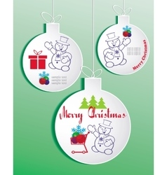 Set of bright christmas balls with snowman vector