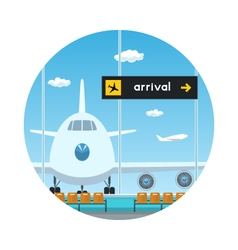 Iconview on airplane and scoreboard arrivals vector