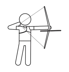 Archery player aiming bow game outline vector