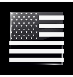 Black and white american flag square icon vector