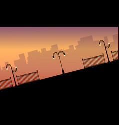 Silhouette fence and street lamp landscape vector