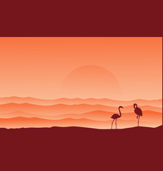 desert background with flamingo silhouette scenery vector image