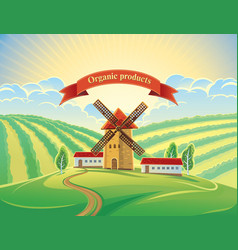 Rural landscape with windmills and tape as a vector