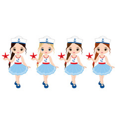 Nautical little girls with starfish vector