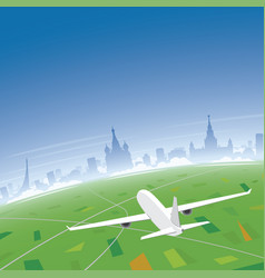 moscow skyline flight destination vector image