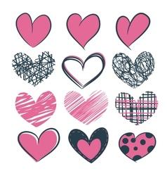 A set of hearts hand drawn vector image