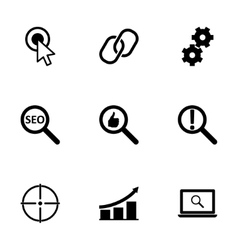 Black seo icons set vector