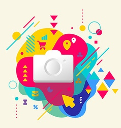 Photo camera on abstract colorful spotted vector