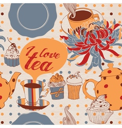 I love tea invitation card vector