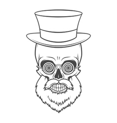 Bearded skull with hypnotic grasses and top hat vector