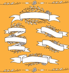 Set of doodle ornate floral ribbons vector
