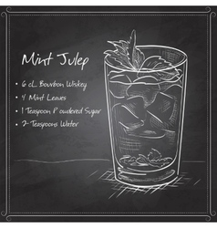 Cocktail mint julep on black board vector