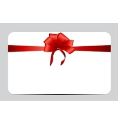 Gift card set with red ribbon and bow vector