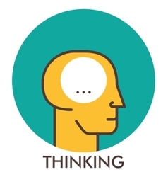 Thinking line icon with flat design elements vector