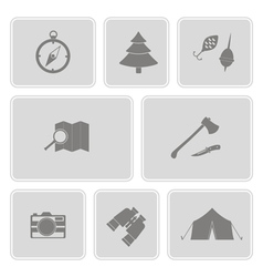 Monochrome set with camping icons vector