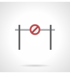 Stop barrier with sign flat color icon vector