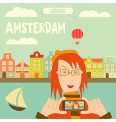 Amsterdam selfie vector